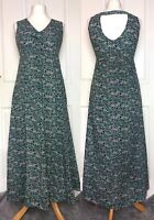 Nomads Green Floral Tea Dress Long Tie Front Size 10