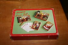 Vintage PLAYING CARD SET Playing Cards 2 DECKS IN TIN,SCORE PAD,PENCIL CHRISTMAS