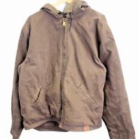 I143 Vintage Carhartt Chore Jacket Duck Brown Denim Men's Fleece Lined Size L