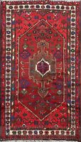 Geometric Hamedan Hand-knotted Wool Area Rug Traditional Oriental 3'x5' Carpet