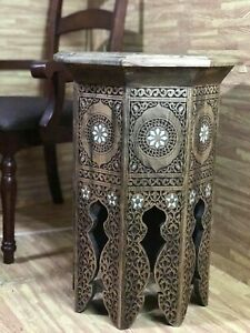 Unique Syrian Moroccan Hand carved Side Table Walnut Wood Mother of Pearl Inlaid