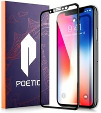 Poetic Full Coverage Tempered Glass Screen Protector for Apple iPhone X Black