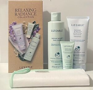 Liz Earle Relaxing Radiance Collection Set: Cleanser Cloth Tonic & Exfoliator