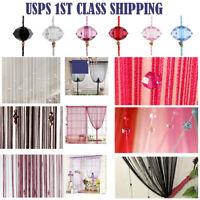 Beauty String Tassel Curtain Crystal Beads Door Window Panel Room Divider Decor