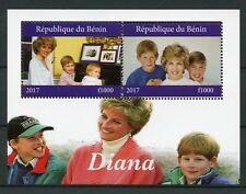Benin 2017 MNH Princess Diana Prince William Harry 2v M/S Royalty Stamps