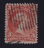 Canada Sc #25b (1868) 3c orange red Large Queen Thin Paper VF Used