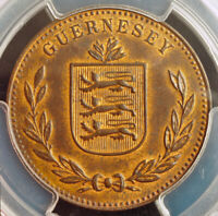 1920, Guernsey (British Dependency). Large Bronze 8 Doubles Coin. PCGS MS-63 BN!