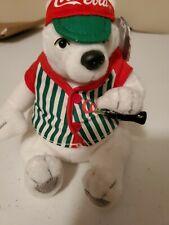 Coca Cola White Plush Polar Bear in Baseball Jersey Style #0261 1999