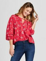 NWT Universal Thread Long Sleeve Woven Top Red Floral Spring Summer Women's Med