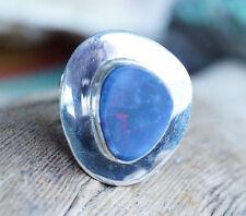 Silberring 52 Edelopal Boulder Opal Freiform Eckig Ring Silber Schlicht Bunt