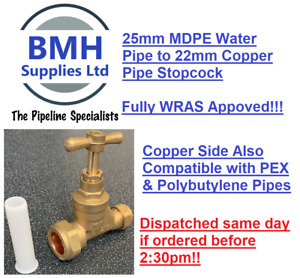25mm x 22mm BRASS MAINS STOPCOCK FOR BLUE MDPE TO COPPER STOP TAP. FREE DELIVERY