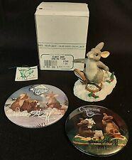 Htf Charming Tails Dean Griff Binkey Snow Shoeing Figurine 87580 + Signed Pins