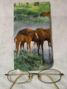 CLOTH EYE GLASSES SUNGLASSES  CASE HOLDER HORSES CHOICE  NEW HANDMADE CLOTH