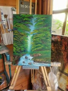 Original oil painting, Bob Ross Alla Prima style +  landscape signed by artist
