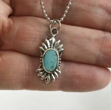 Sun Pendant with Ball Chain Navajo Turquoise Stone 925 Sterling Silver