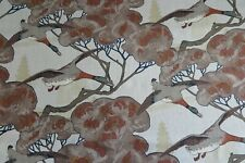 """MULBERRY CURTAIN FABRIC DESIGN """"Flying Ducks"""" 1 METRE STONE/BROWN 100% LINEN"""