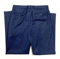 Hart Schaffner & Marx Mens 34 X 32 Navy Blue Wool Dress Pants Slacks Flat Front