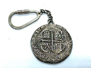 Antique Spanish 8 Reales Solid Silver Coin Dated 1676 Key Ring Pendant