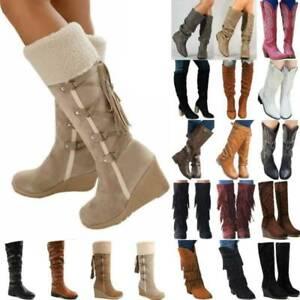 Womens Knee High Block Heel Long Boots Ladies Winter Warm Wide Calf Casual Shoes