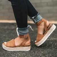 Women Leopard Flat Heels Platform Wedge Sandals Summer Ankle Strap Shoe 4-8.5