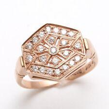 Vintage 14k Rose Gold Diamond Hexagon Pave Ring RHR Victorian 1/2 carat Preowned