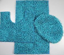 3Piece Mixed Shiny Chenille Bath Mats Set Made with super soft Microfiber TURQUO