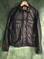 Vintage Levi's Type 3 Heavy Leather Trucker  Jacket  Xl 48""