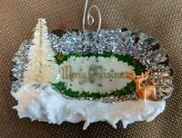 Tart Tin Diorama Christmas Ornament Handmade with Vintage Deer & Package Label ~