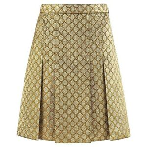 GUCCI S/S 2018 Gold Metallic Brocade Monogram Logo Pleated Knee Length Skirt