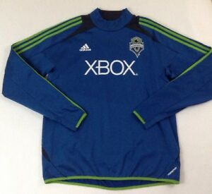 Adidas Seattle Sounders FC Soccer Men's Blue Climacool Sweatshirt Shirt SZ Large