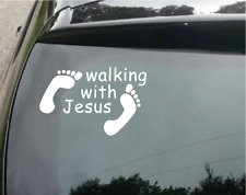 Walking With Jesus God Christian Decal Sticker Car Windows Laptop Wall