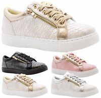 NEW WOMENS LADIES CROC GOLD ZIP LACE UP TRAINERS SNEAKERS CREEPER SHOES