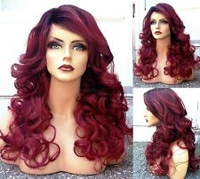 USA: Human Hair BLEND Curly Red SWISS LACE FRONT Wig w/ Dark Roots