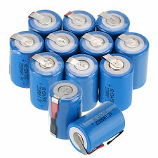 12pcs 4/5 Sub C SC 1.2V 2200mAh Ni-Cd NiCd Rechargeable Batteries With Tap,Blue