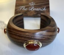 WOOD CUFF WITH INLAID Sterling Silver Gilt Carnelian Branch Jewellery