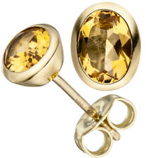 Ohrstecker oval 585 Gold Gelbgold 2 Citrine gelb Ohrringe Goldohrringe