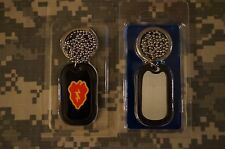 NEW Key Chain - US Army 25th Infantry Division Dog Tag with chain necklace Brass