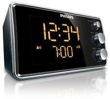 Philips Digitaler Radiowecker FM-Tuner LED-Anzeige Schwarz Silber Edition NEU