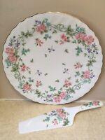 "10 1/2"" Cake Plate W Server Spatula JAPAN Floral FEDERATED DEPT STORES Porcelain"