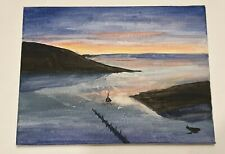 More details for dusk harbour - art painting by j. scott on a4 canvas - unframed