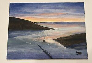 Dusk Harbour - Art Painting By J. Scott on A4 Canvas - Unframed