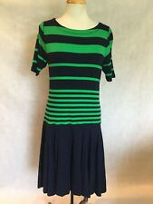 LAUREN JEANS RALPH LAUREN NAVY/GREEN STRIPED DRESS-  SIZE L