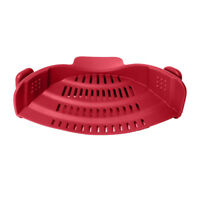 Snap Strain Strainer Clip On Silicone Colander Fits all Pots and Bowls Red