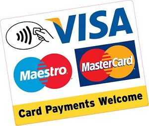 Card Payments Contactless Large Square 150x120mm Credit Card Vinyl Sticker Shop