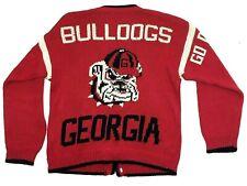 VINTAGE Georgia BULLDOGS Letterman's Jacket KNIT Cardigan Monogram NCAA FOOTBALL