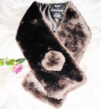 USA Seller Faux Fur Muffler Scarf Satin Lining Dennis Basso NWOT