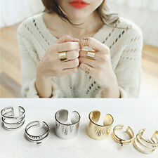 3pcs Fashion Gold Silver Plated Shiny Band Midi Finger Knuckle Stack Rings Set