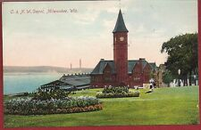 Early1900 Postcard Chicago & Nortwestern Railroad Depot Milwaukee WI Wisconson