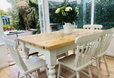 Pine Painted Farmhouse Table Bench and Chairs