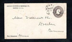 1888 Fancy Cancel Boston, MASS. Aug. 3rd, Sc #u222 to Dresden, Germany